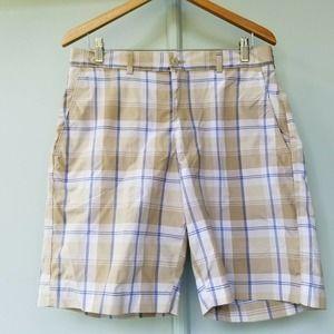 Grand Slam Men's 32 Plaid Flat Front Golf Shorts